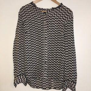 J. Crew, cream and black, silk blouse, size 12